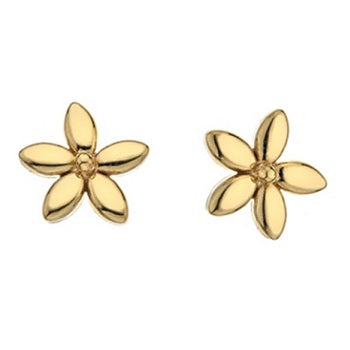 9K Yellow Gold Petal Stud Earrings