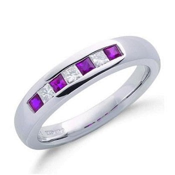 9K White Gold Princess Cut Diamond & Ruby Half Eternity Ring - Pobjoy Diamonds