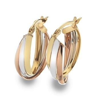 9K Gold Russian Three Colour Hoop Earrings - Pobjoy Diamonds