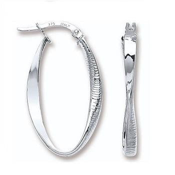 9K White Gold Twisted & Ribbed Hoop Earrings-Pobjoy Diamonds