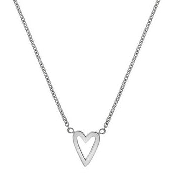 9K White Gold Heart Pendant Necklace & Earrings Set