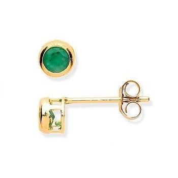 9K Yellow Gold & Emerald Small Stud Earrings