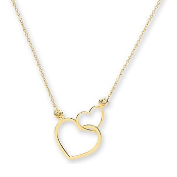 9K Yellow Gold Silhouette Hearts Pendant & Rolo Chain