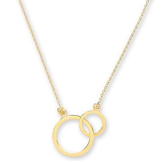 9K Yellow Gold Twin Flat Hoops & Rolo Neck Chain