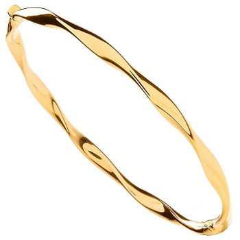 9K Yellow Gold Hollow Twist Ladies Hinged Bangle