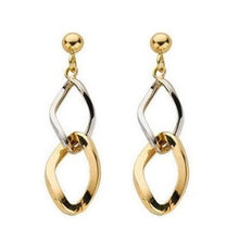 Load image into Gallery viewer, 9K White & Yellow Gold Ladies Drop Earrings-Pobjoy