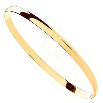 9K Yellow Gold Smooth Plain Ladies Bangle From Pobjoy.