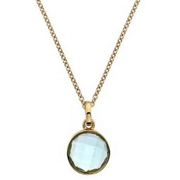 9K Yellow Gold Ladies Round Topaz Pendant & Neck Chain