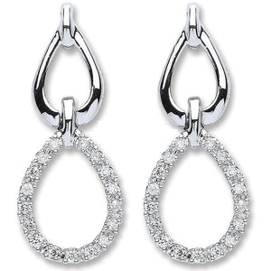 9K White Gold & Diamond 0.25 CTW Drop Earrings