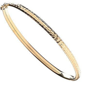 9K Yellow Gold Ladies Hinged Bangle - Pobjoy Diamonds