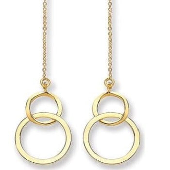 9K Yellow Gold Drop Hoop Earrings - Pobjoy Diamonds