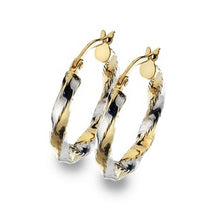 Load image into Gallery viewer, 9K White & Yellow Gold Hoop Diamond Cut Earrings
