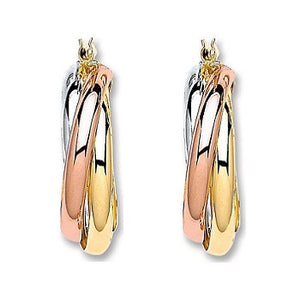 9K Three Colour Gold Russian Medium Hoop Earrings