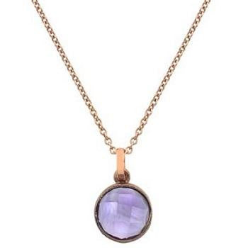 9K Rose Gold Ladies Round Amethyst Pendant & Neck Chain