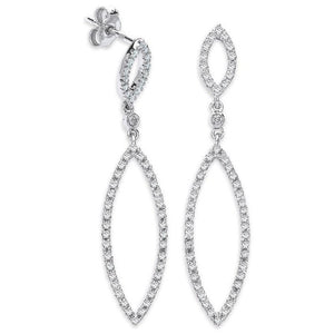 9K White Gold Marquise Diamond Drop Earrings