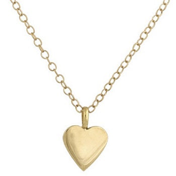 9K Yellow Gold Child's Heart Pendant & Trace Chain