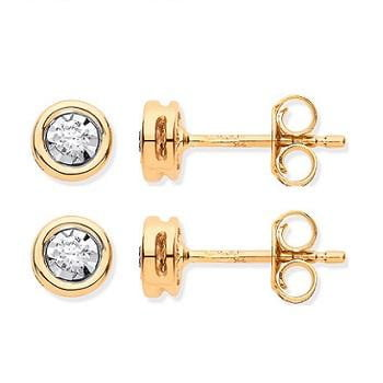 9K Yellow Gold Rub Over 0.10 CTW Diamond Earrings