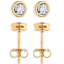 Load image into Gallery viewer, 9K Yellow Gold Rub Over 0.10 CTW Diamond Earrings Pobjoy Diamonds