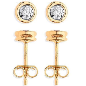 9K Yellow Gold Rub Over 0.10 CTW Diamond Earrings Pobjoy Diamonds