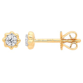 9K Yellow Gold Diamond Stud Earrings 0.13 CTW