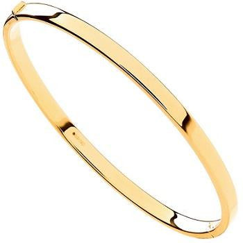 9K Yellow Gold Hinged Square Edged Ladies Bangle - Pobjoy Diamonds