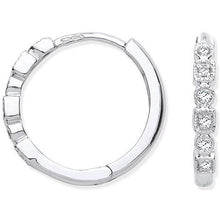 Load image into Gallery viewer, Pobjoy hoop, hinged earrings in 9k white gold,  0.10 CTW of round cut sparkling G/Si diamonds
