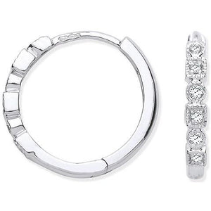Pobjoy hoop, hinged earrings in 9k white gold,  0.10 CTW of round cut sparkling G/Si diamonds