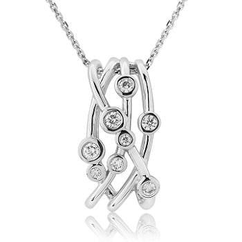18K White Gold & Diamond Scatter Necklace & Pendant 0.24 CTW - Pobjoy Diamonds
