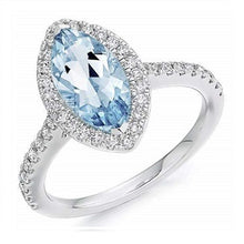 Load image into Gallery viewer, 18K White Gold Aquamarine & Halo Diamond Ring