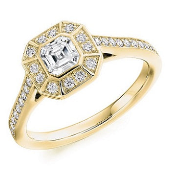 18K Yellow Gold Asscher Cut Diamond Halo & Shoulders Ring 0.70 CTW - Balmoral