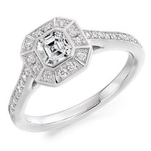 Load image into Gallery viewer, 950 Platinum Asscher Cut Diamond Halo & Shoulders Ring 1.10 CTW - Balmoral - [product_type] - Pobjoy Diamonds - Pobjoy Diamonds
