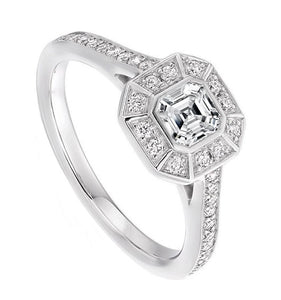 18K White Gold Asscher Cut Diamond Halo & Shoulders Ring 1.10 CTW - Balmoral