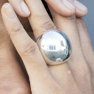 Handmade Chunky Silver Orb Ring - Pobjoy Diamonds