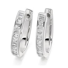 Load image into Gallery viewer, Baguette Cut Diamond Ladies Hoop Earrings 950 Platinum - Pobjoy Diamonds