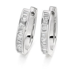 Baguette Cut Diamond Ladies Hoop Earrings 950 Platinum - Pobjoy Diamonds