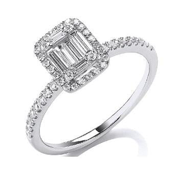 18K White Gold 0.50 CTW Diamond Baguette & Halo Ring G-H/Si