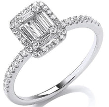 Load image into Gallery viewer, 18K White Gold 0.50 CTW Diamond Baguette & Halo Ring G-H/Si - Pobjoy Diamonds