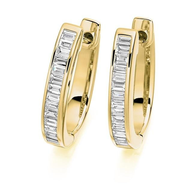 Baguette Cut Diamond Ladies Hoop Earrings 18K Gold - Pobjoy Diamonds