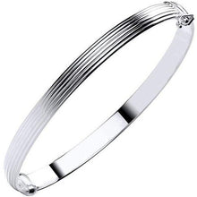 Load image into Gallery viewer, 9K White Gold Hollow Ribbed Ladies Hinged Bangle - Pobjoy Diamonds
