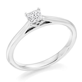 18K White Gold 0.30 Princess Cut Solitaire Diamond Engagement Ring F/VS1 - Pobjoy Diamonds