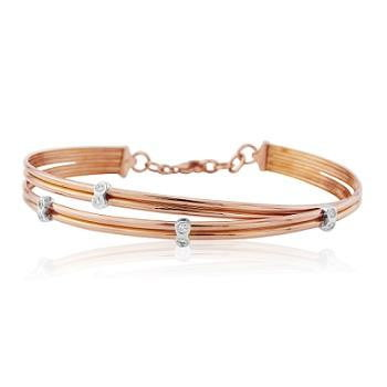 18K Rose Gold & Scattered Diamond Bangle 0.10 CTW - Pobjoy Diamonds