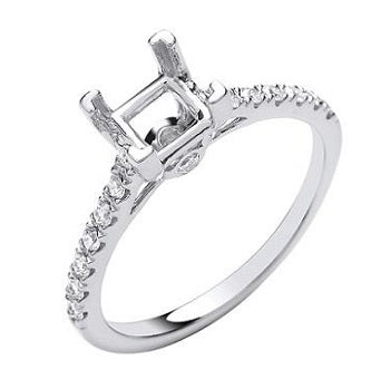 Bespoke 18K White Gold Princess Cut Diamond & Set Shoulders 1.00 - 1.50 CTW. Prices From