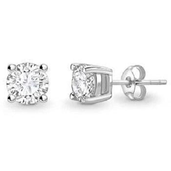Bespoke 18K Gold Round Brilliant Cut Diamond Stud Earrings 0.60 To 1.00 CTW- E/VS1 - Pobjoy Diamonds