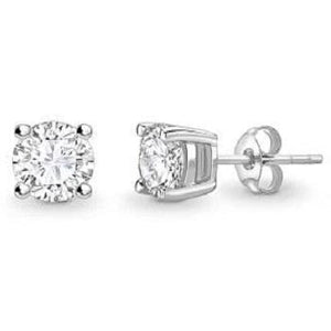Bespoke 18K Gold Round Brilliant Cut Diamond Stud Earrings 0.60 To 1.00 CTW- F/VS2 - Pobjoy Diamonds