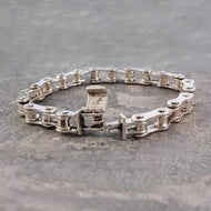 Mens Chunky Sterling Silver Bike Chain Bracelet - Pobjoy Diamonds