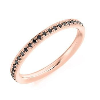 Pobjoy  18K Rose Gold 0.30 Carat Black Diamond Full Eternity Ring