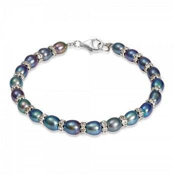 Black & Silver Oval Pearl Bracelet - Pobjoy Diamonds
