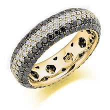 Load image into Gallery viewer, Black & Round Brilliant 3.15 CTW Diamond Full Eternity Ring  F-G/VS - Pobjoy Diamonds
