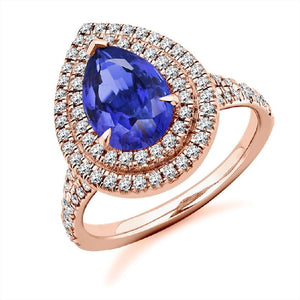 18K Rose Gold & Tanzanite Ladies Engagement/Dress Ring - Pobjoy Diamonds