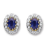 9K Yellow Gold Blue Sapphire & Diamond Stud Earrings - Pobjoy Diamonds